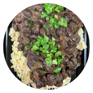 Black Beans with White Rice and plantain
