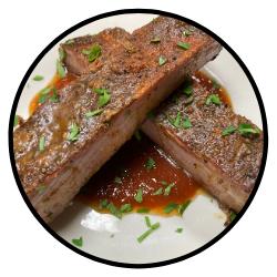 Hardwood smoked pork ribs