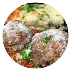 Meatballs Marinara with Spinach & Cheese Lasagna